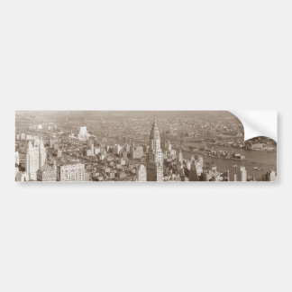 Vintage Sepia Tone New York Car Bumper Sticker