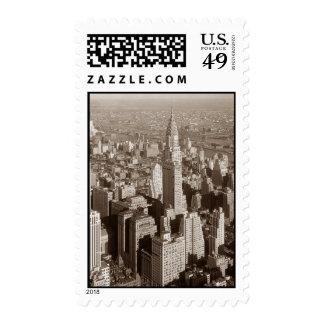Vintage Sepia Tone New York Postage