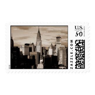 Vintage Sepia Tone New York Stamp