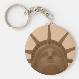 Vintage Sepia Tone Statue of Liberty Keychain