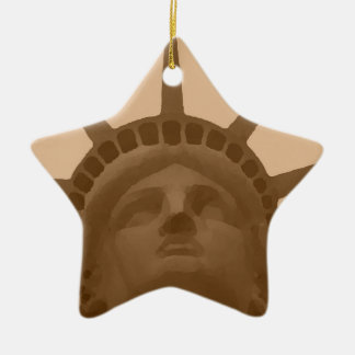Vintage Sepia Tone Statue of Liberty Double-Sided Star Ceramic Christmas Ornament
