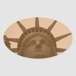 Vintage Sepia Tone Statue of Liberty Oval Sticker