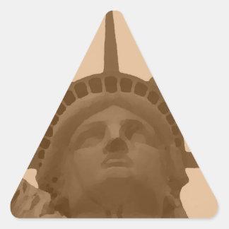 Vintage Sepia Tone Statue of Liberty Triangle Sticker