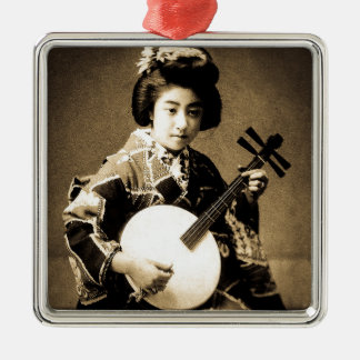 Vintage Sepia Toned Japanese Geisha Playing Gekkin Metal Ornament