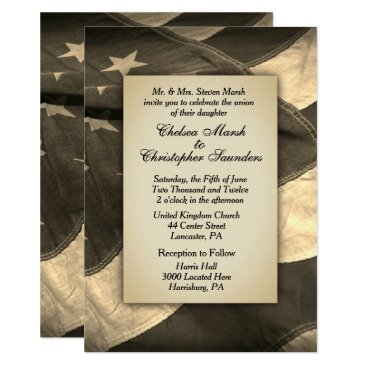 Vintage Sepia USA Flag Wedding Invitation