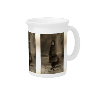 Vintage Sepia Victorian Girl Photo With Sled Drink Pitchers