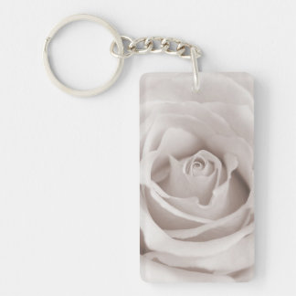 Vintage Sepia White & Cream Rose Background Custom Keychain