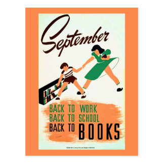 Vintage september back to work school books WPA Postcard