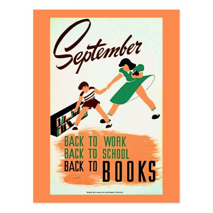 Vintage september back to work, school, books WPA Postcard