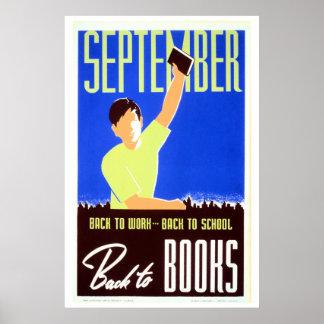 Vintage september back to work school books WPA Poster