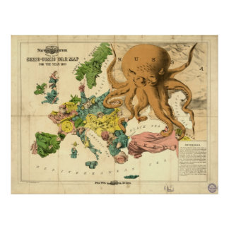 Vintage Serio Comic War Map For The Year 1877 Posters