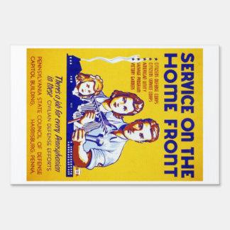Vintage Service on the Home Front WPA Poster Lawn Sign