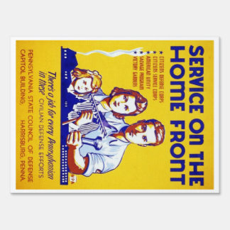 Vintage Service on the Home Front WPA Poster Yard Sign