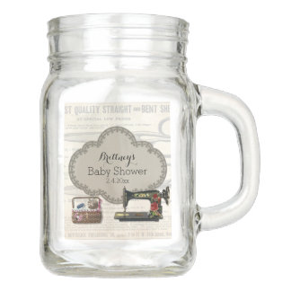 Vintage Sewing Baby Shower Mason Jar