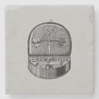 Vintage Sewing Basket Stone Coaster