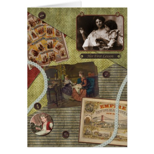 """Vintage """"Sewing Lesson"""" Scrapbook Greeting Card"""