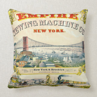 Vintage Sewing Machine Ad 1870 Throw Pillows