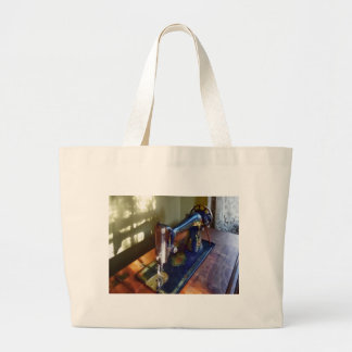 Vintage Sewing Machine and Shadow Large Tote Bag