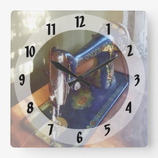 Vintage Sewing Machine and Shadow Square Wall Clock