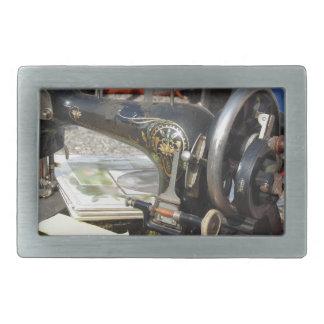 Vintage sewing machine at flea market rectangular belt buckle