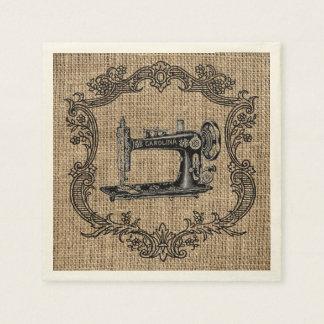 Vintage Sewing Machine Burlap Paper Napkins