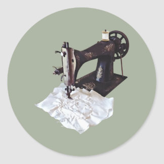 Vintage Sewing Machine Circa 1900 Classic Round Sticker