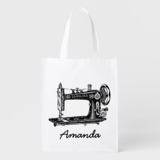 Vintage Sewing Machine Personalized Reusable Grocery Bag