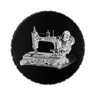 Vintage Sewing Machine Retro Machines White Black Candy Tin