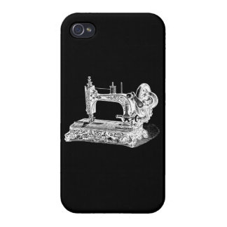 Vintage Sewing Machine Retro Machines White Black Case For iPhone 4