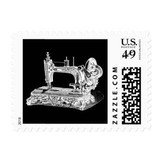 Vintage Sewing Machine Retro Machines White Black Postage Stamp