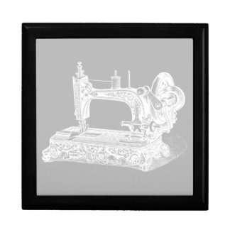 Vintage Sewing Machine - Retro Machines White Gray Gift Box