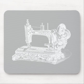 Vintage Sewing Machine - Retro Machines White Gray Mouse Pad