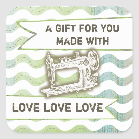 Vintage sewing machine rickrack gift tag label
