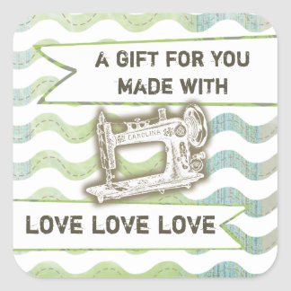 Vintage sewing machine rickrack gift tag label square sticker