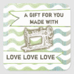 Vintage sewing machine rickrack gift tag label square stickers
