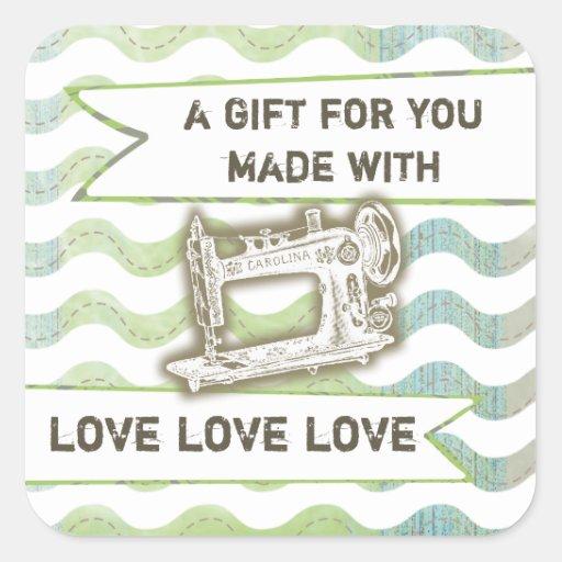 Vintage sewing machine rickrack gift tag label square sticker