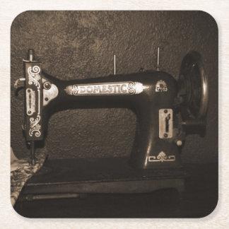 Vintage Sewing Machine Square Paper Coaster