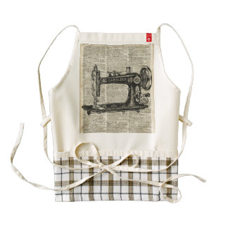 Vintage Sewing Machine Stencil Over Old Book Page Zazzle HEART Apron