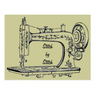 Vintage Sewing Machine Stitch by Stitch Postcard