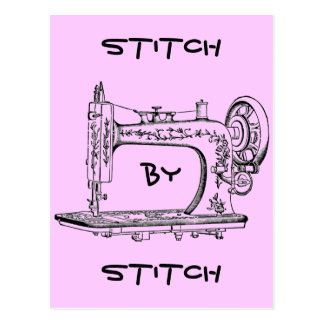 Vintage Sewing Machine Stitch by Stitch Postcard