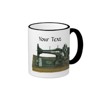 Vintage Sewing Machine with Text Ringer Mug