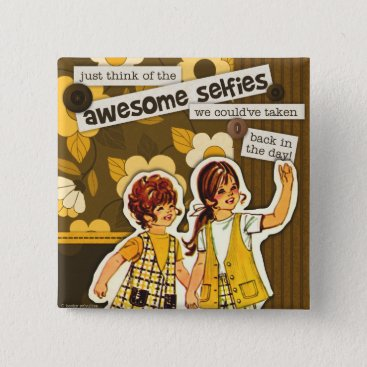 "Beach Themed ""Vintage Sewing Pattern Art"" Selfie Square Button"