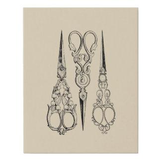 Vintage Sewing Scissors, Vintage Art Faux Canvas Print