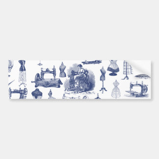 Vintage Sewing Toile Bumper Sticker