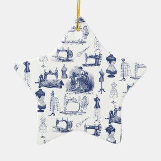 Vintage Sewing Toile Ceramic Ornament