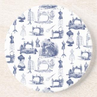 Vintage Sewing Toile Drink Coaster