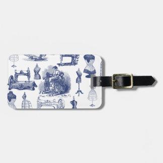 Vintage Sewing Toile Luggage Tag