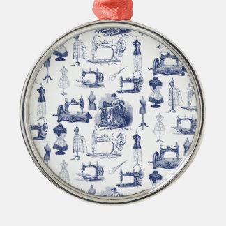 Vintage Sewing Toile Metal Ornament
