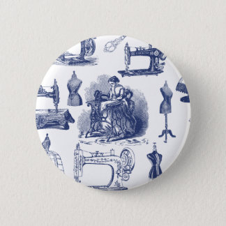 Vintage Sewing Toile Pinback Button