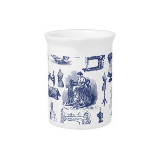 Vintage Sewing Toile Pitcher at Zazzle